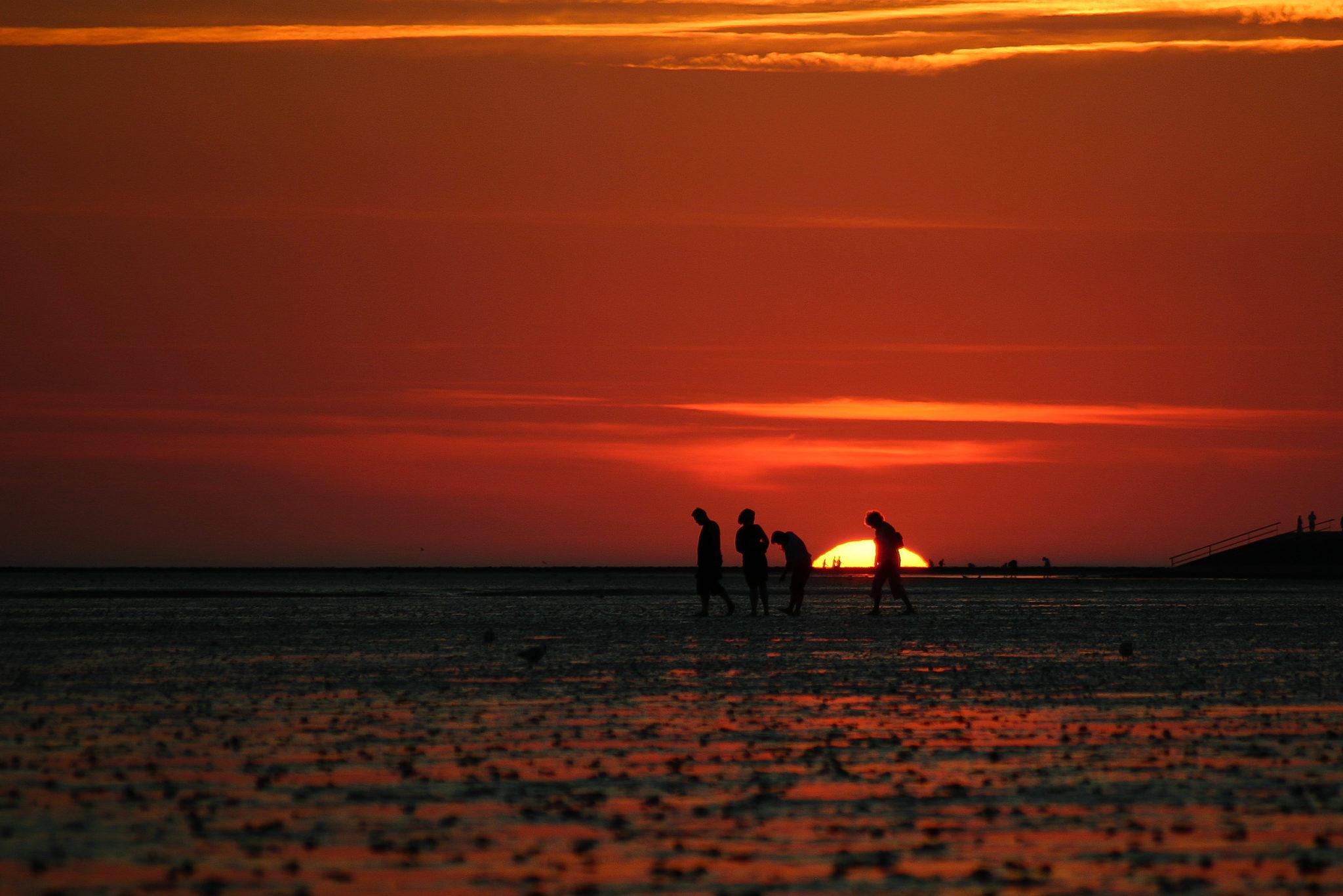 Sonnenuntergang am Strand von Büsum